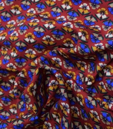 Tissu viscose Trèfles - pourpre