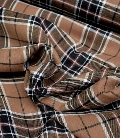 Tissu coton écossais Jack - chocolate white