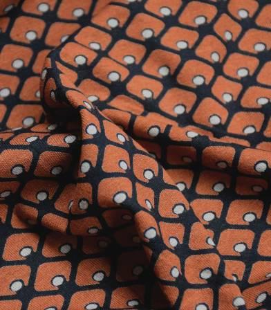 Tissu jersey viscose - Ecailles rouille