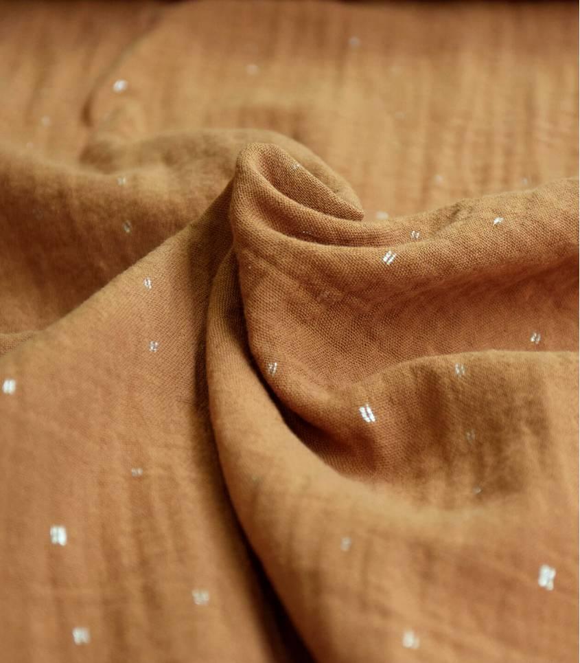 Tissu double gaze caramel - Pointillé doré