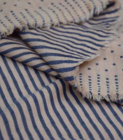 Tissu Jersey double face plumetis - Beige