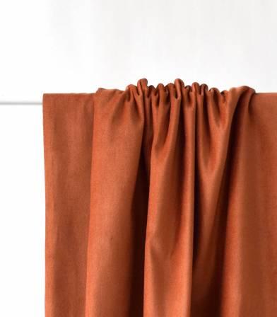 Tissu velours lisse rouille