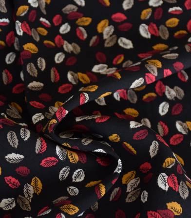 Tissu viscose Milles feuilles - Noir