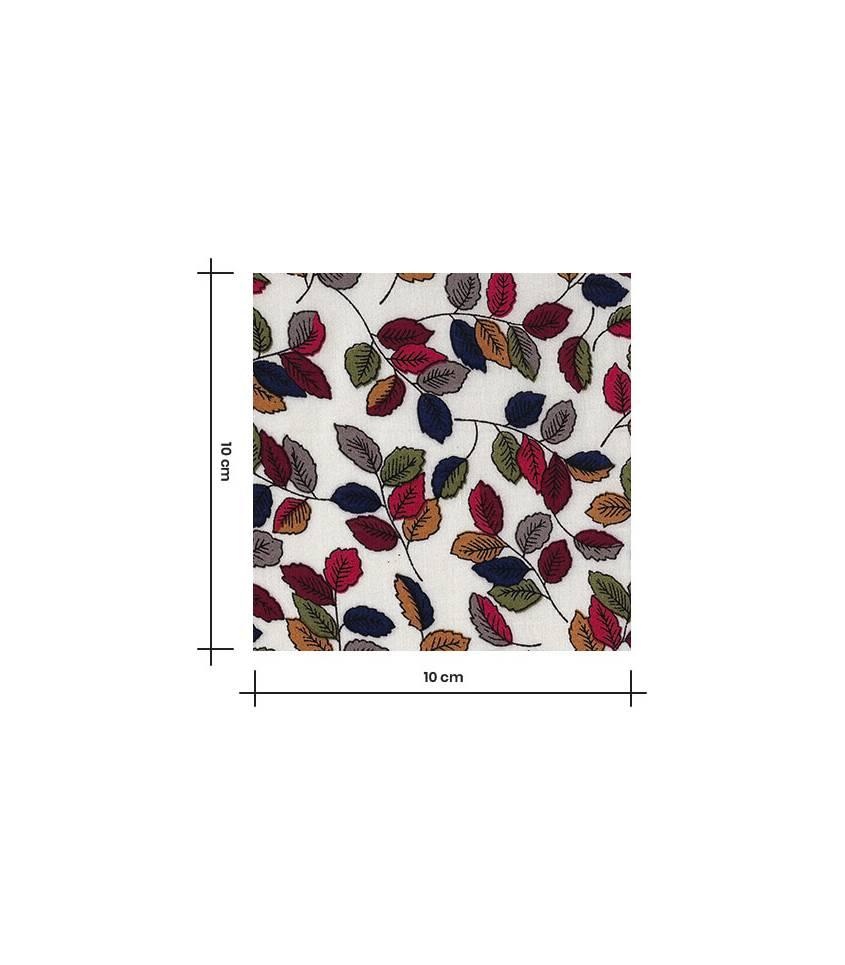 Tissu viscose Milles feuilles - Ecru