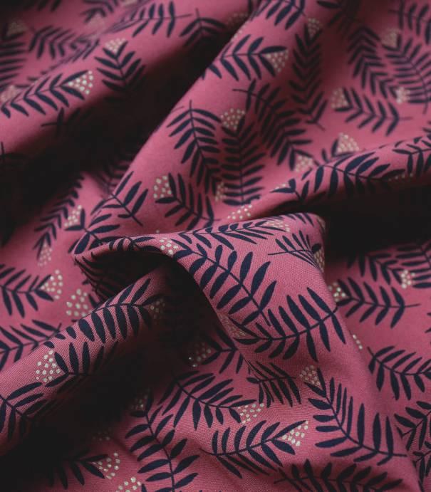 Tissu viscose Rameaux  - pourpré