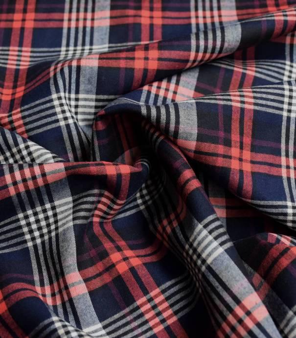 Tissu carreaux flanelle écossais - Navy Red