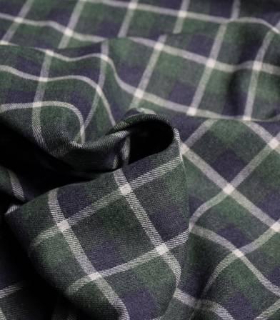 Tissu flanelle carreaux Marine & Vert sapin