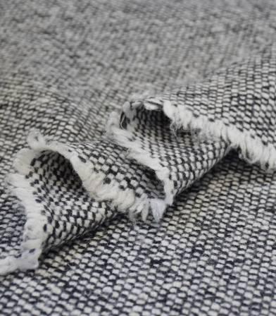 Tissu Lainage tissé - white & grey