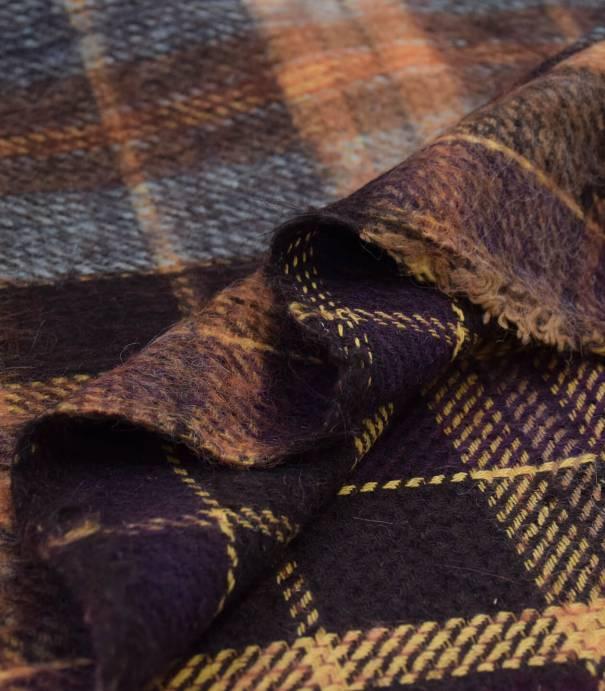 Tissu lainage poilu écossais - Ambre