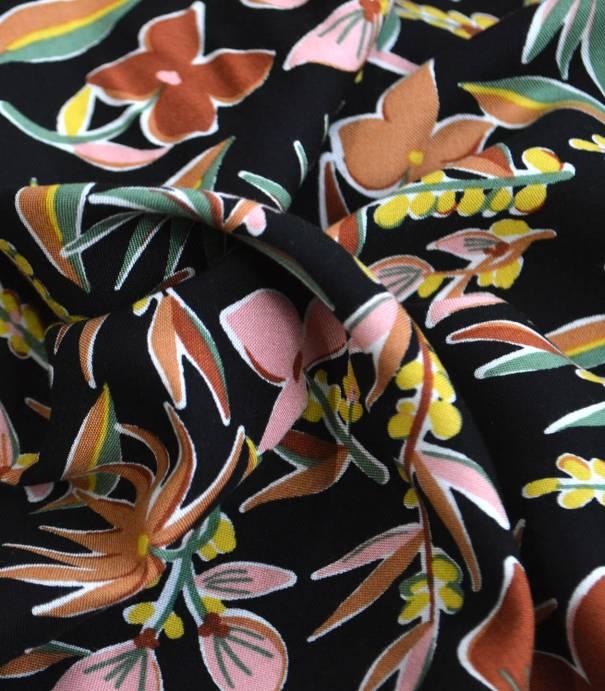 Tissu viscose Pampa - black