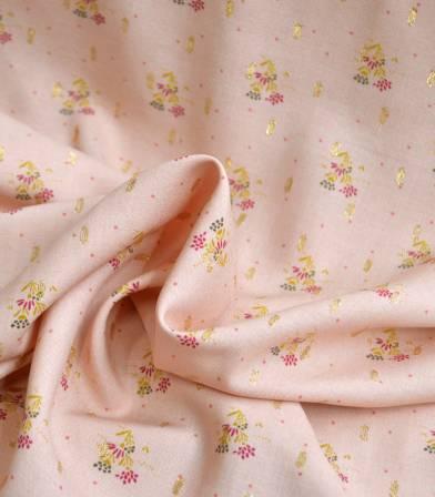 Tissu viscose Fiori plumetis or - nude