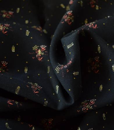 Tissu viscose Fiori plumetis or - noir