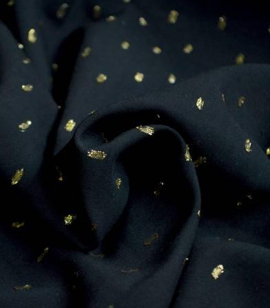 Tissu viscose plumetis or - noir