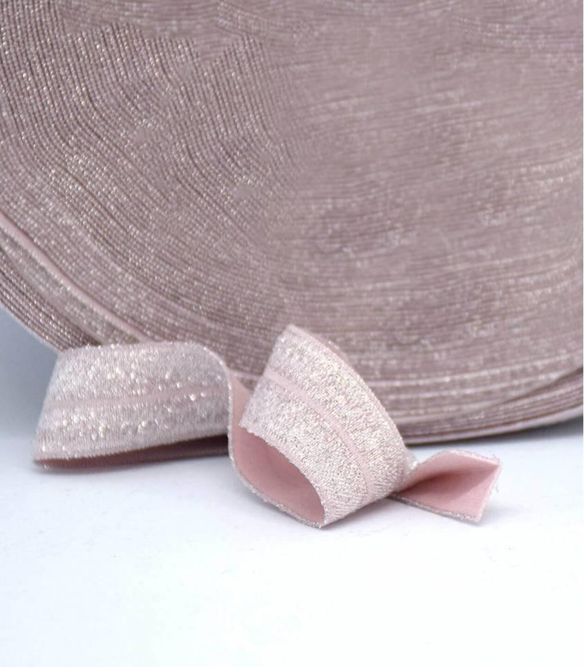Biais élastique lurex argent - pink