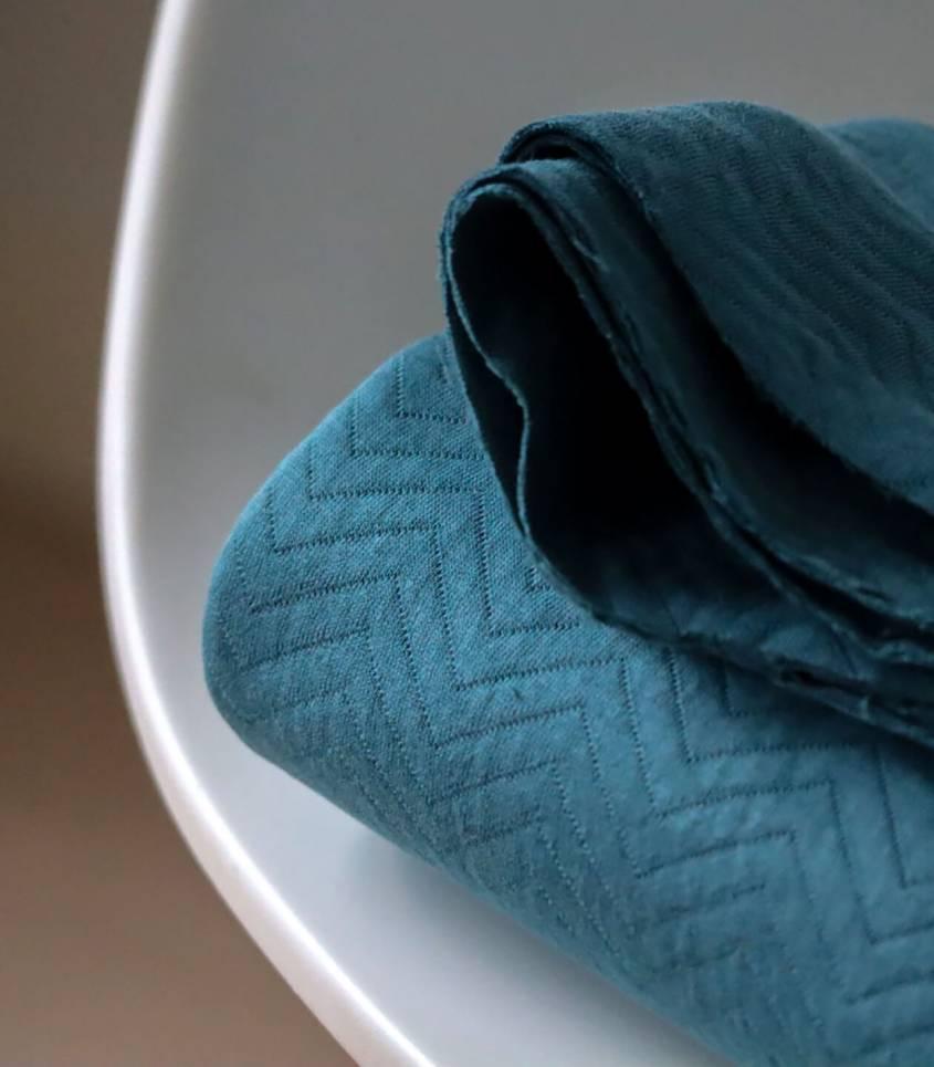 Tissu Jersey matelassé chevron - Peacock