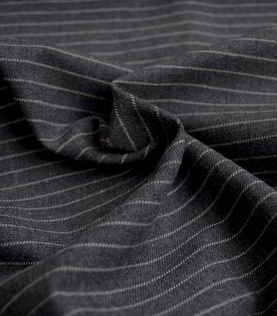 Tissu flanelle de coton Stripes - gris foncé