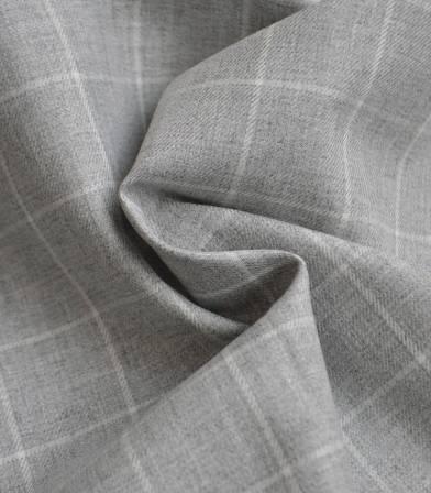 Tissu twill de coton carreaux - gris clair