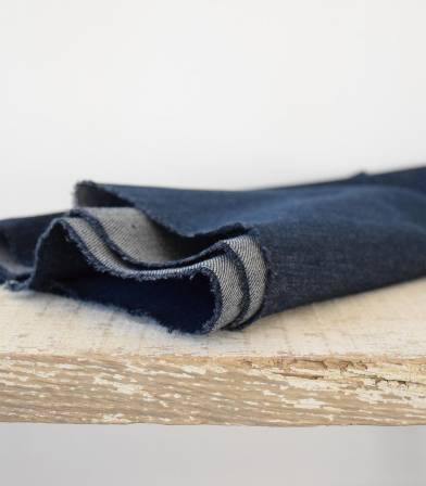 Tissu Heavy washed Denim - Dark Blue