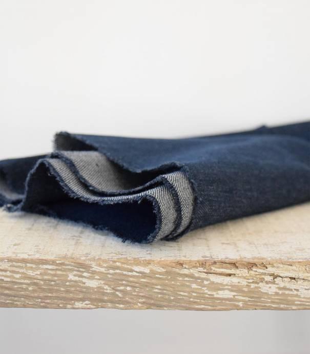 Tissu Heavy washed Denim - Dark Blue