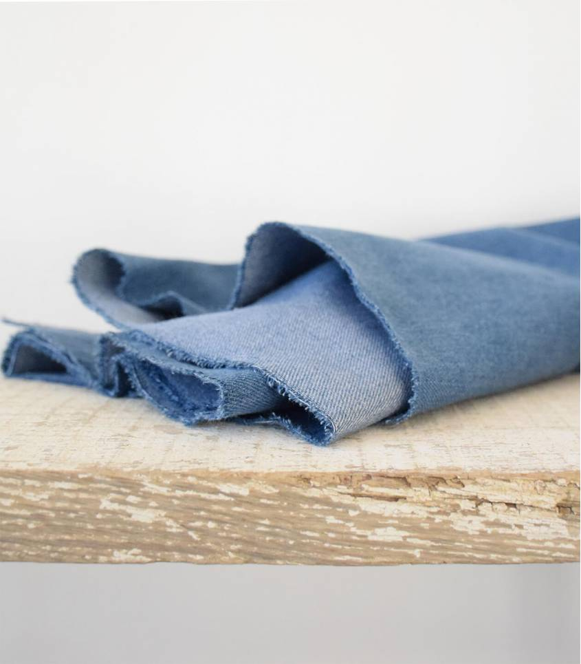 Tissu Heavy washed Denim - Mid Blue