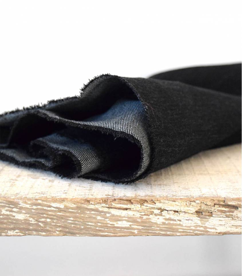 Tissu Heavy washed Denim - Black