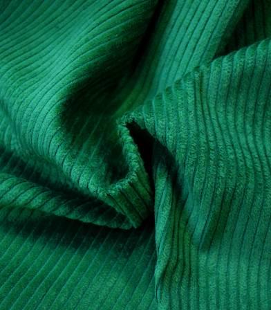 Tissu velours grosses côtes vert feuille