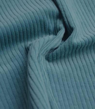 Tissu en velours grosses côtes bleu sarcelle