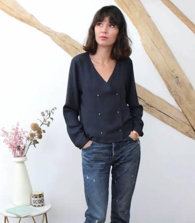 Box Ma blouse Croisette - Anthracite