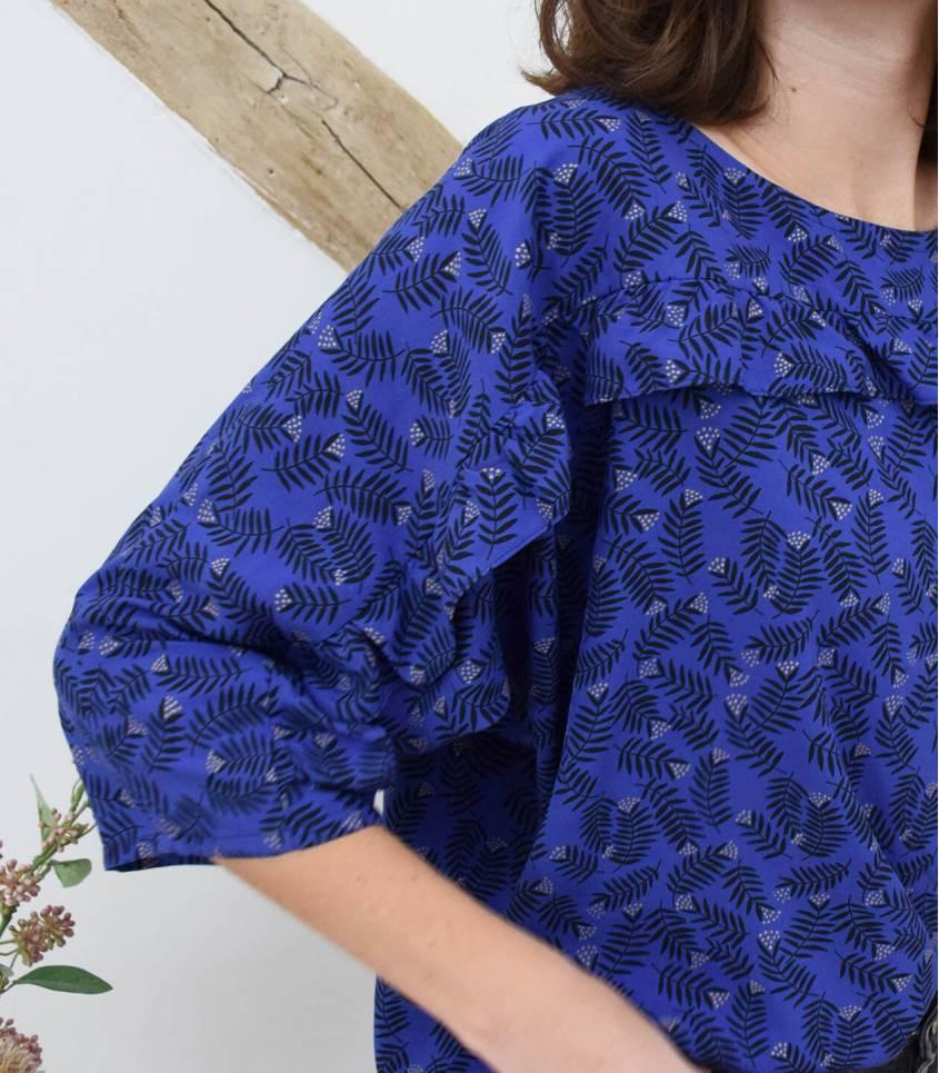 Tissu viscose Rameaux - blue