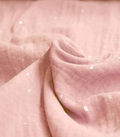 Tissu double gaze rose poudré - Pointillé doré