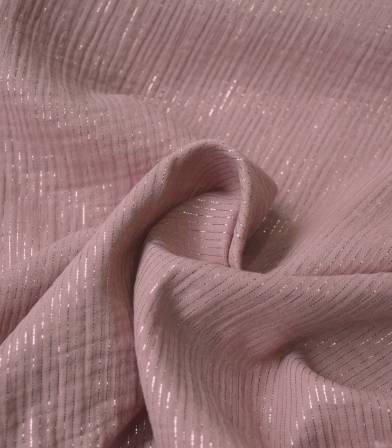 Double gaze rayure lurex - Old Pink