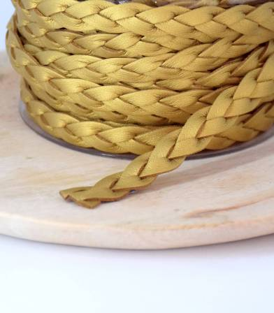 Cordelière Tresse suedine - Gold