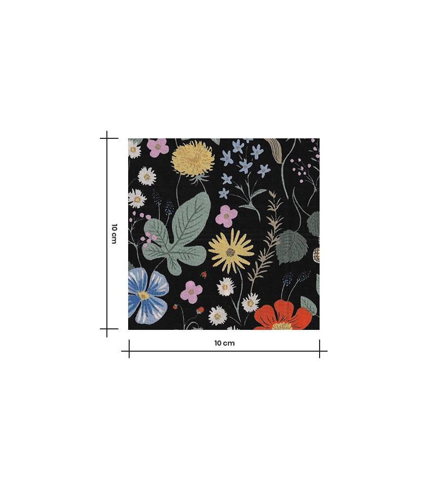Tissu Viscose - Strawberry fields - black
