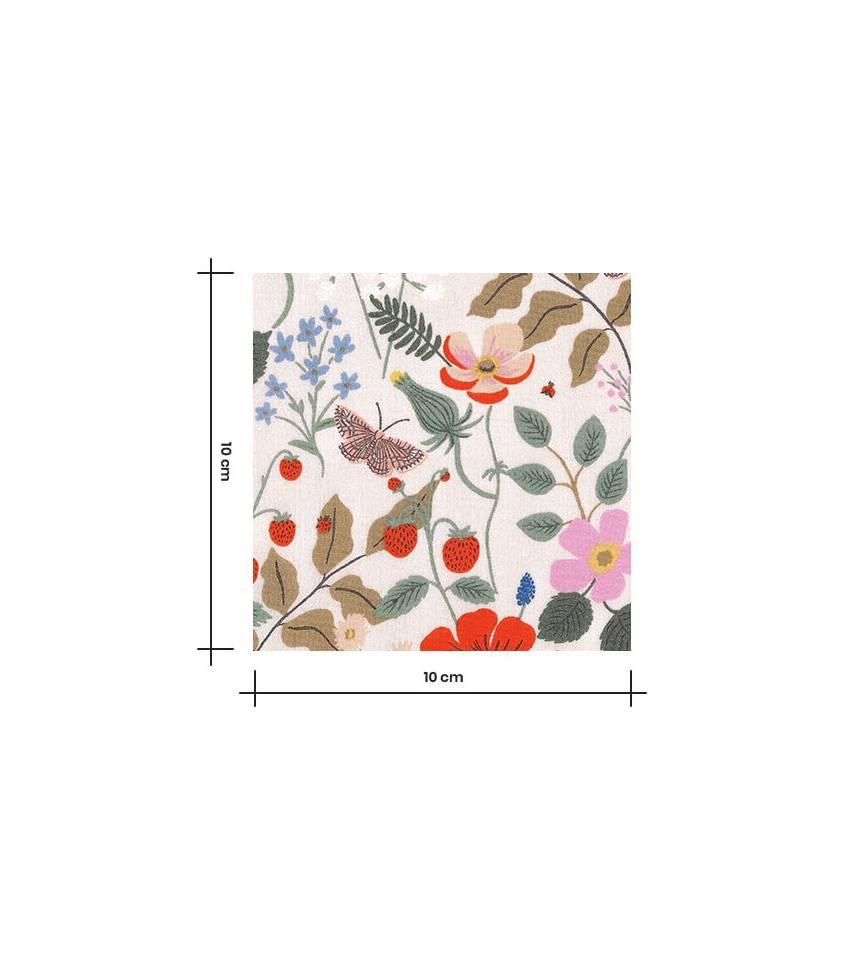 Tissu Viscose - Strawberry fields - Ivory