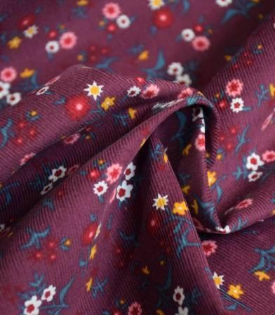 Tissu velours milleraies Fleurette - Bordeaux