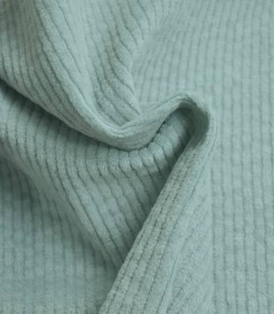 Tissu en velours côtelé elasthanne - Céladon