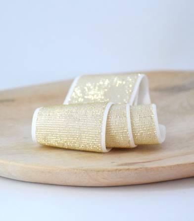 Elastique blanc lurex or 40mm