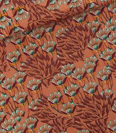 Tissu cotton canvas Gilly flowers - Sunburn brown