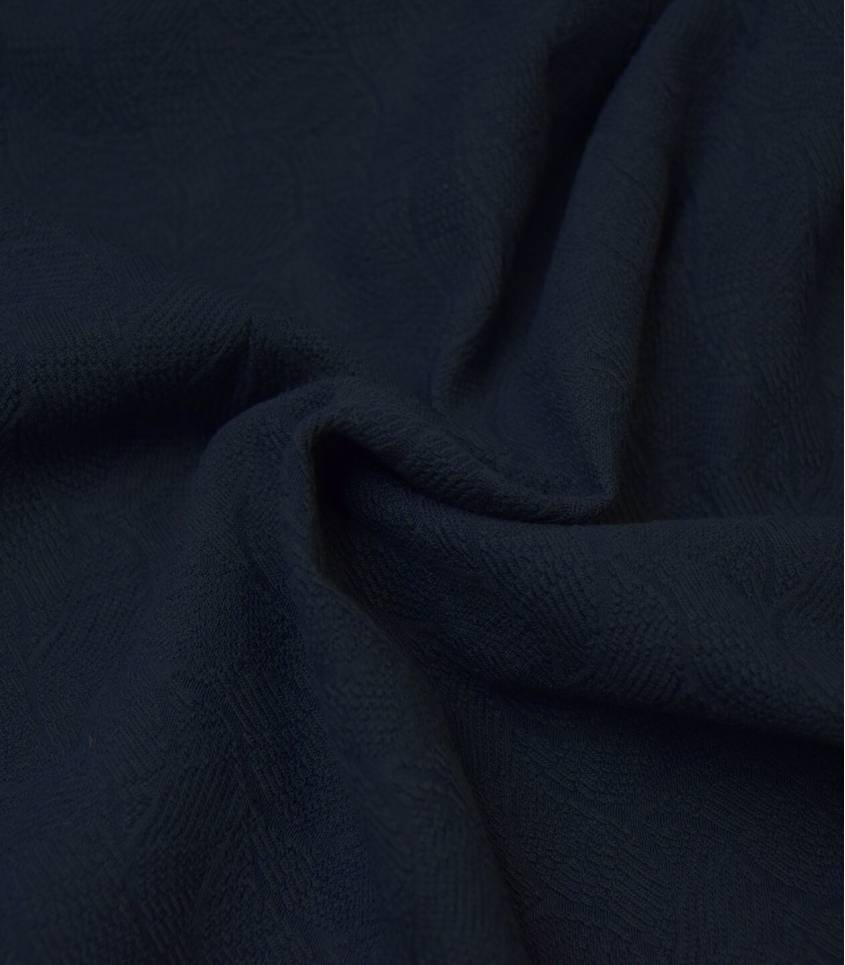 Tissu Jersey Bio - Jacquard Leaf - Indigo night