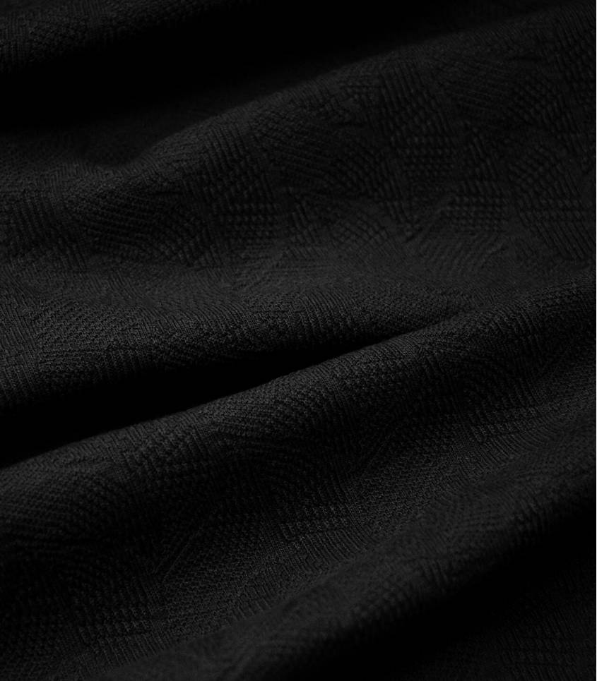 Tissu Jersey Bio - Jacquard Leaf - Black